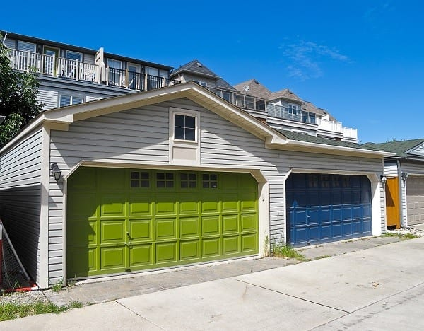 Green and Blue Garage Doors