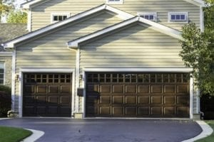 Traditional three car wooden garage