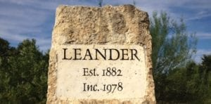 city of leander, tx rock sign