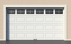 White modern garage door with windows installed, serviced, maintained and repaired by Action Garage Doors of Channelview Texas your true professionals