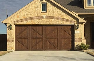 Custom wood two car garage door