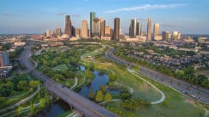 aerial view of downtown Houston, TX