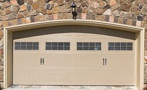 tan double garage door