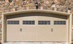 tan double garage door